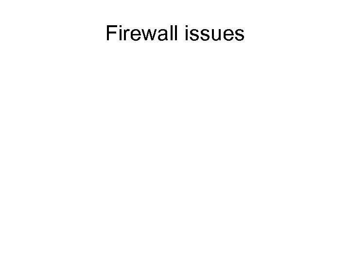 Firewall issues