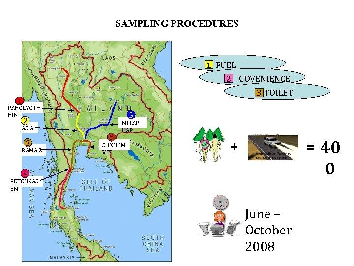 SAMPLING PROCEDURES 1 FUEL 2 COVENIENCE STORE 3 TOILET 1 PAHOLYOT HIN 5 2