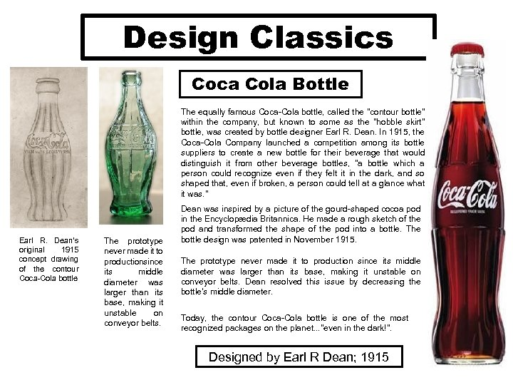 Design Classics Coca Cola Bottle The equally famous Coca-Cola bottle, called the