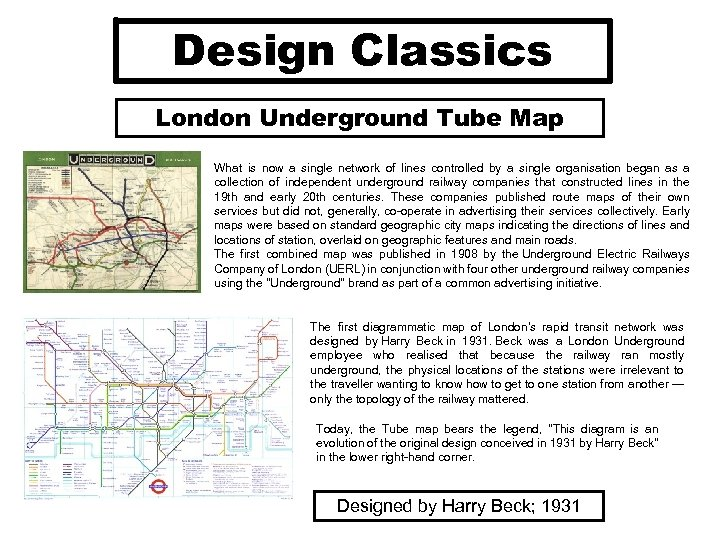 Design Classics London Underground Tube Map What is now a single network of lines