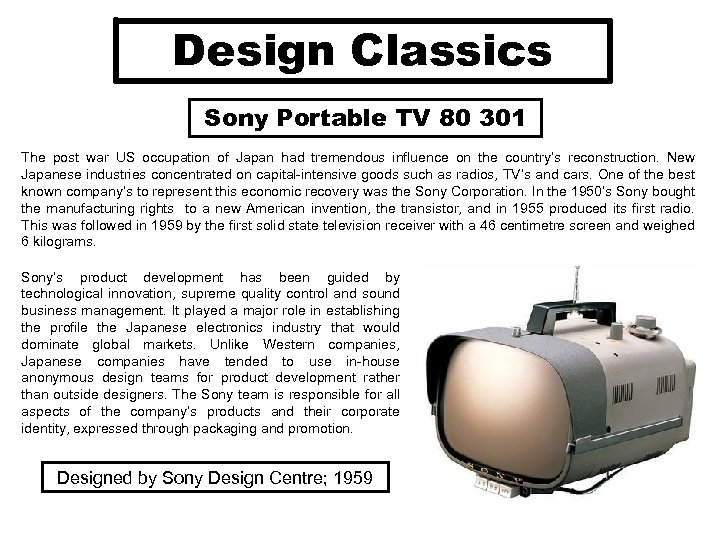 Design Classics Sony Portable TV 80 301 The post war US occupation of Japan