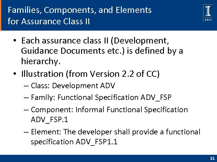 Families, Components, and Elements for Assurance Class II • Each assurance class II (Development,