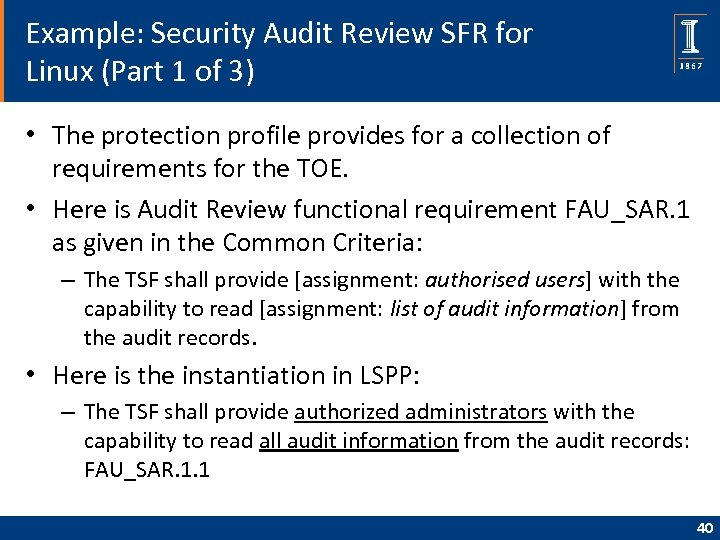Example: Security Audit Review SFR for Linux (Part 1 of 3) • The protection