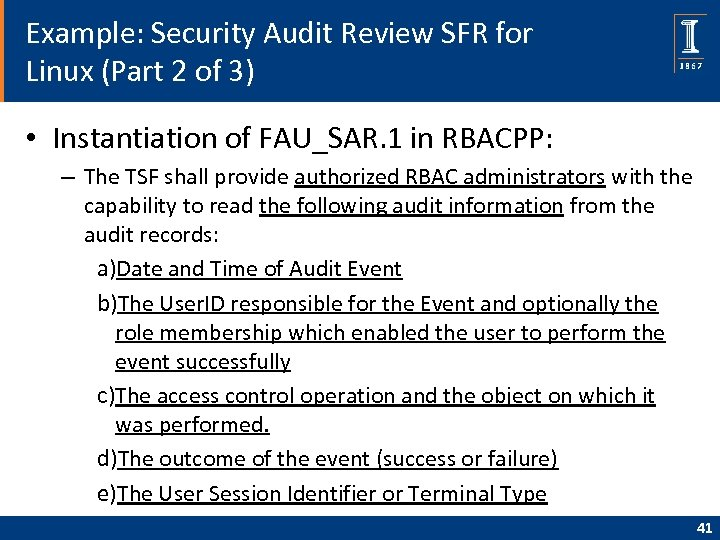 Example: Security Audit Review SFR for Linux (Part 2 of 3) • Instantiation of