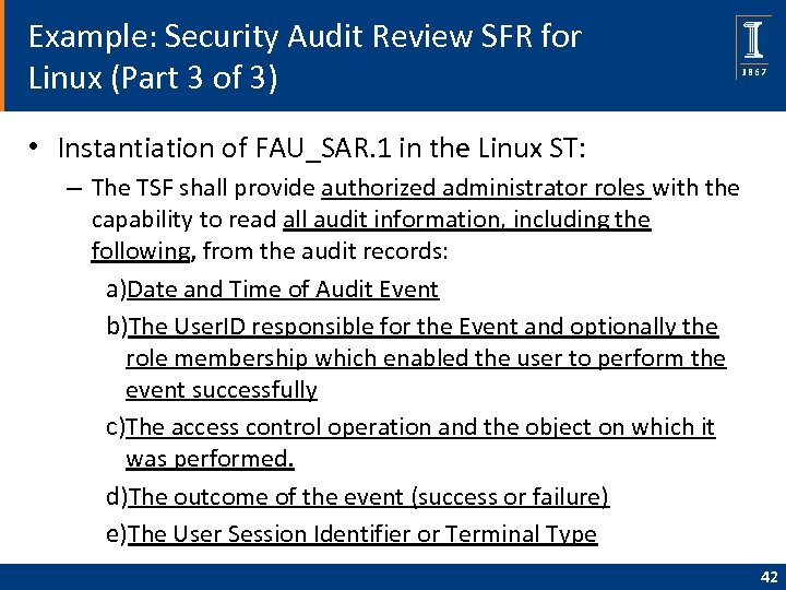 Example: Security Audit Review SFR for Linux (Part 3 of 3) • Instantiation of