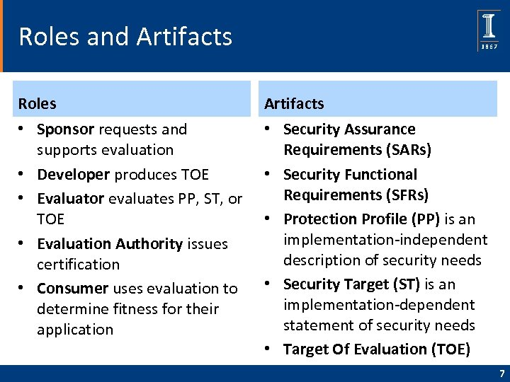 Roles and Artifacts Roles Artifacts • Sponsor requests and supports evaluation • Developer produces