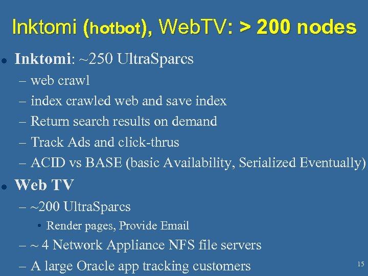 Inktomi (hotbot), Web. TV: > 200 nodes l Inktomi: ~250 Ultra. Sparcs – web