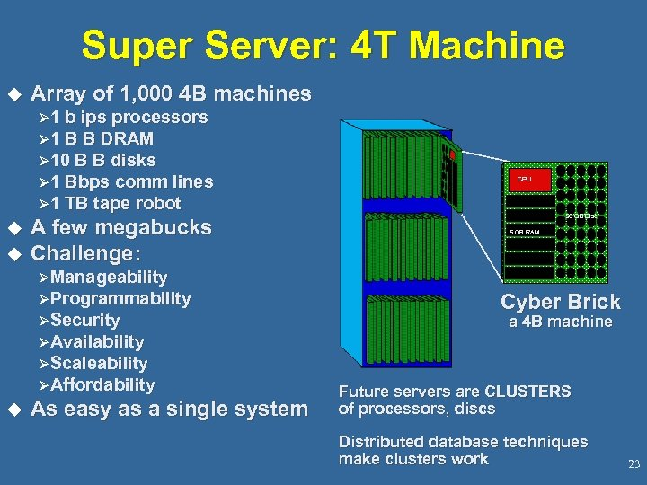 Super Server: 4 T Machine u Array of 1, 000 4 B machines Ø