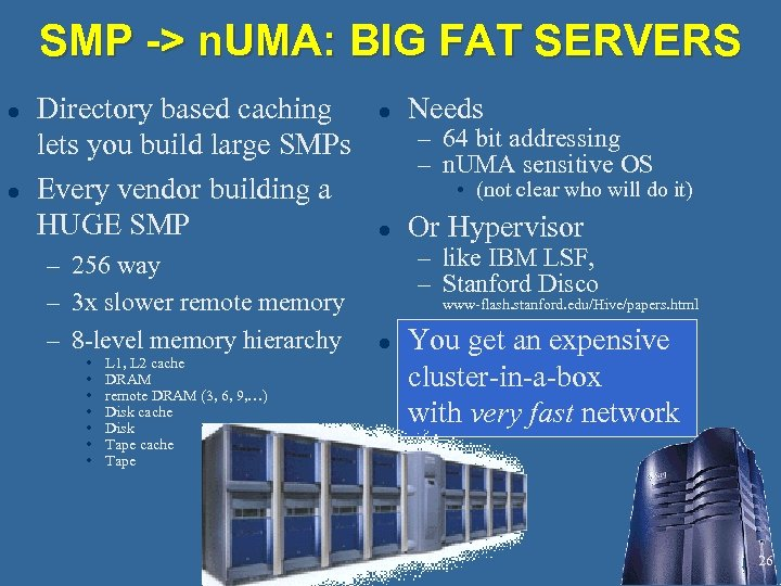 SMP -> n. UMA: BIG FAT SERVERS l l Directory based caching lets you