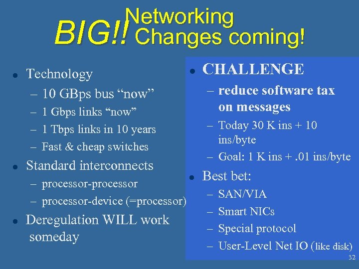 "Networking BIG!! Changes coming! l Technology – 10 GBps bus ""now"" l – reduce"