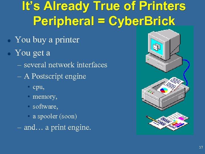 It's Already True of Printers Peripheral = Cyber. Brick l l You buy a