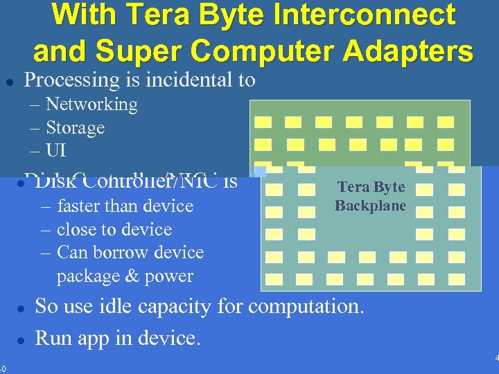With Tera Byte Interconnect and Super Computer Adapters l Processing is incidental to –
