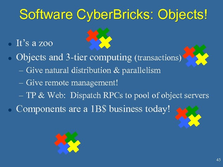 Software Cyber. Bricks: Objects! l l It's a zoo Objects and 3 -tier computing