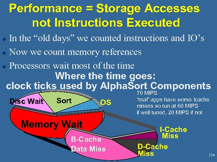 "Performance = Storage Accesses not Instructions Executed In the ""old days"" we counted instructions"
