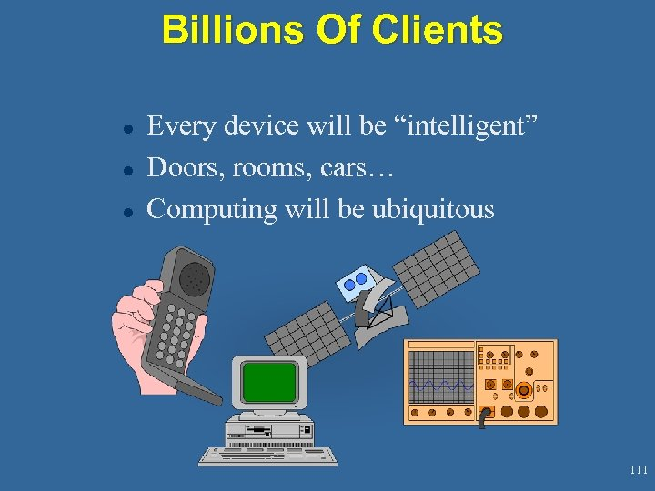 "Billions Of Clients l l l Every device will be ""intelligent"" Doors, rooms, cars…"