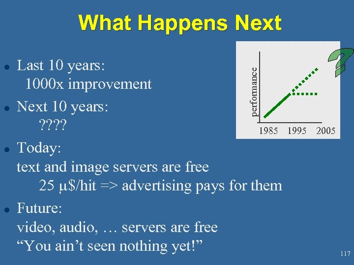 What Happens Next l l l Last 10 years: 1000 x improvement Next 10
