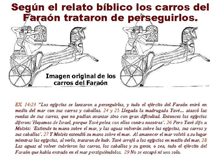 Según el relato bíblico los carros del Faraón trataron de perseguirlos. Imagen original de