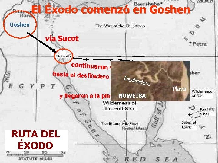 El Éxodo comenzó en Goshen vía Sucot continuaron vadeando hasta el desfiladero Nuweiba Des