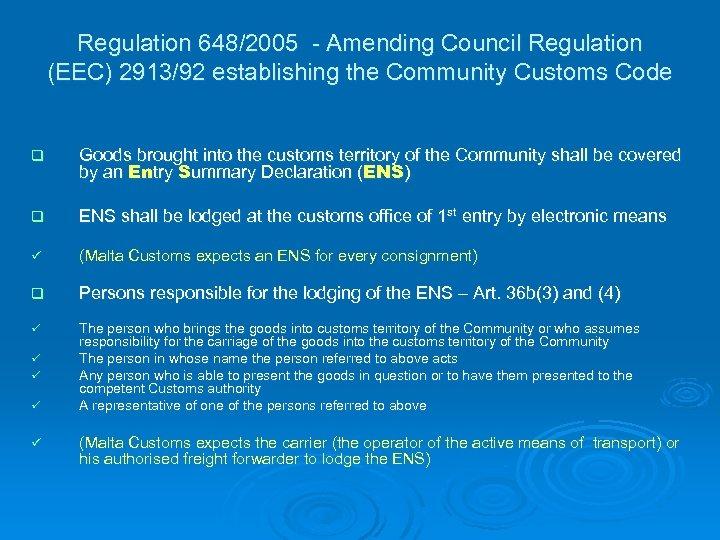 Regulation 648/2005 - Amending Council Regulation (EEC) 2913/92 establishing the Community Customs Code q