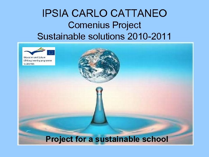 IPSIA CARLO CATTANEO Comenius Project Sustainable solutions 2010 -2011 Project for a sustainable school