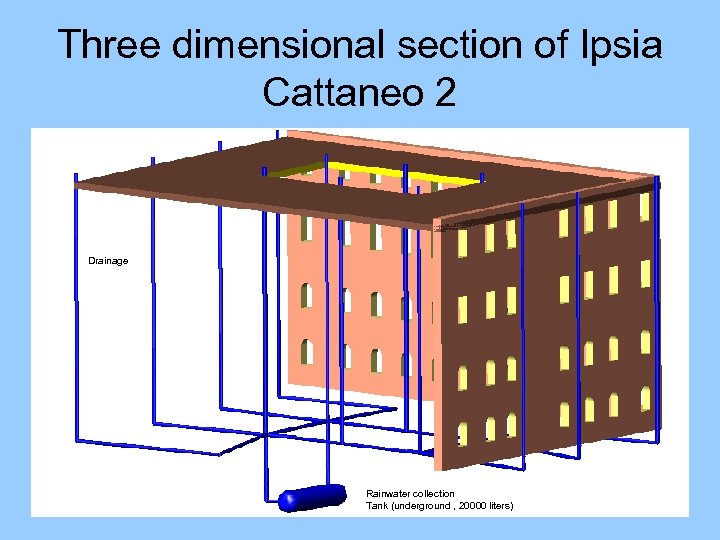 Three dimensional section of Ipsia Cattaneo 2 Drainage Rainwater collection Tank (underground , 20000