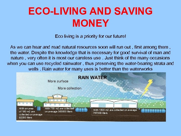ECO-LIVING AND SAVING MONEY Eco living is a priority for our future! As we