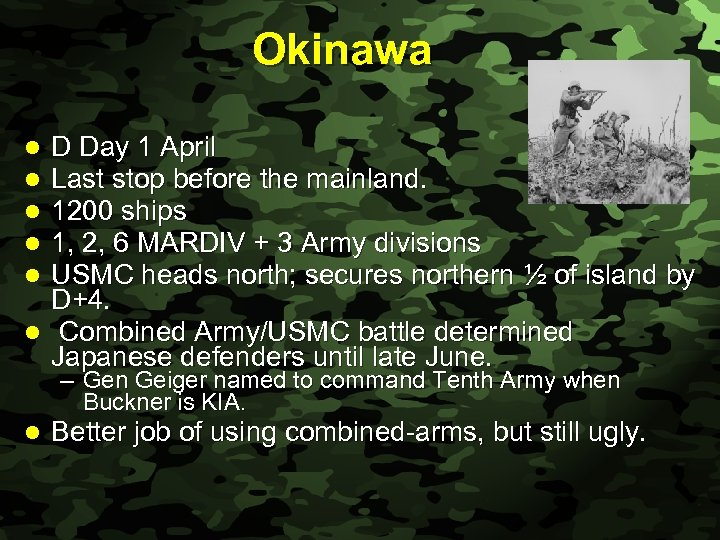 Slide 38 Okinawa D Day 1 April Last stop before the mainland. 1200 ships
