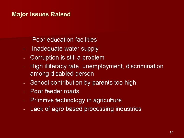 Major Issues Raised Poor education facilities - Inadequate water supply - Corruption is still