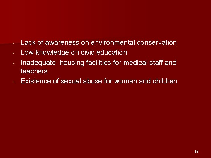 - Lack of awareness on environmental conservation Low knowledge on civic education Inadequate housing