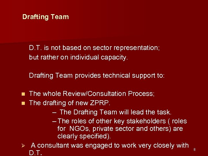 Drafting Team D. T. is not based on sector representation; but rather on individual