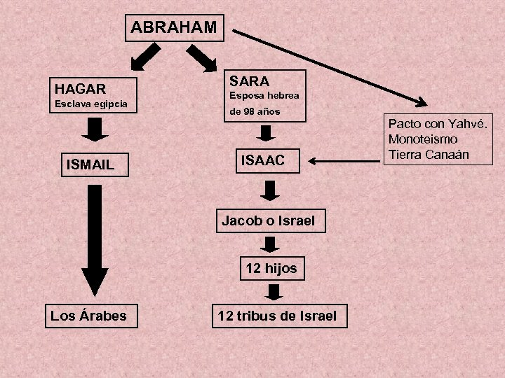 ABRAHAM HAGAR Esclava egipcia ISMAIL SARA Esposa hebrea de 98 años ISAAC Jacob o