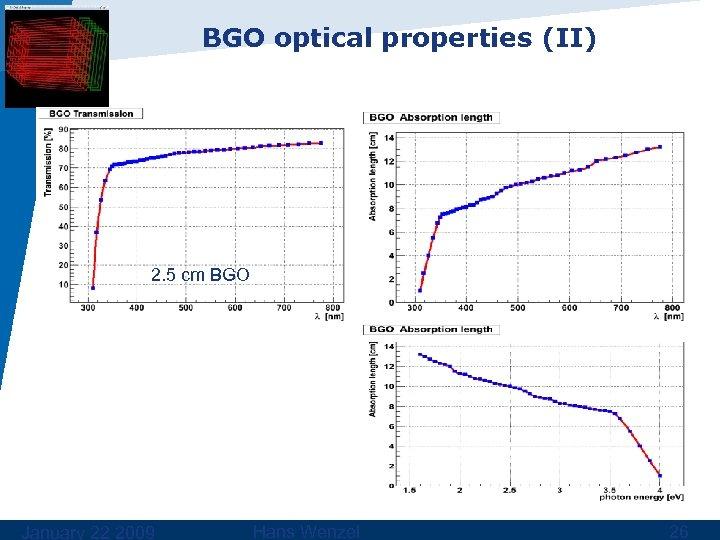 BGO optical properties (II) 2. 5 cm BGO January 22 2009 Hans Wenzel 26