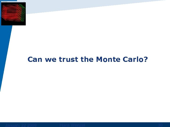 Can we trust the Monte Carlo? January 22 2009 Hans Wenzel 30