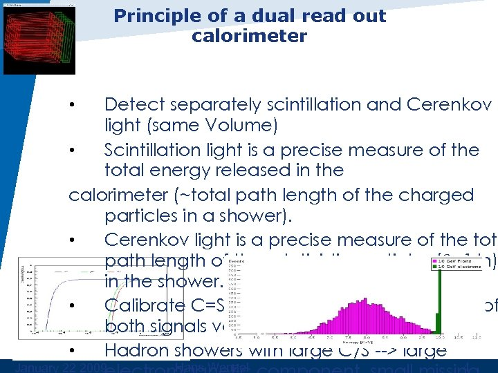 Principle of a dual read out calorimeter Detect separately scintillation and Cerenkov light (same
