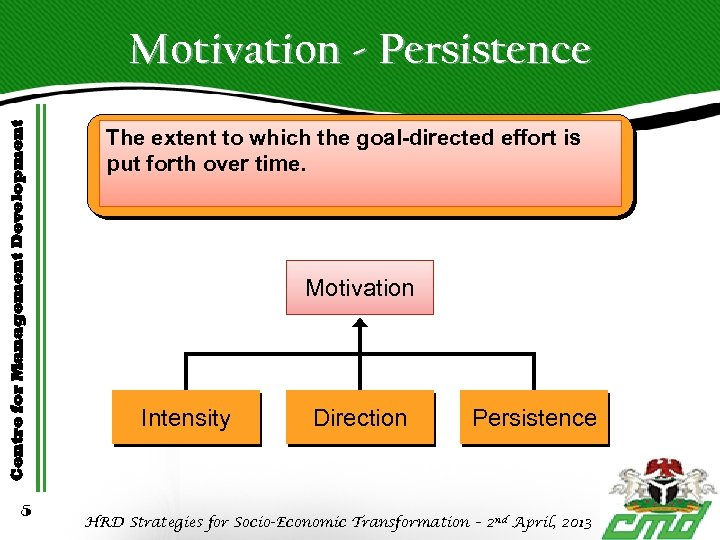 Centre for Management Development Motivation - Persistence 5 The extent to which the goal-directed