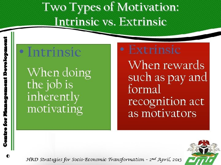 Centre for Management Development Two Types of Motivation: Intrinsic vs. Extrinsic 6 • Intrinsic