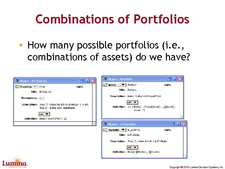 Combinations of Portfolios • How many possible portfolios (i. e. , combinations of assets)