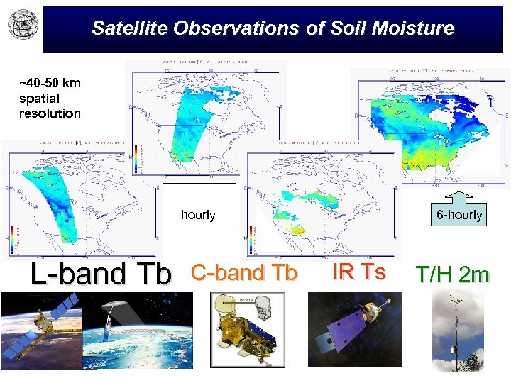 Satellite Observations of Soil Moisture ~40 -50 km spatial resolution hourly L-band Tb C-band