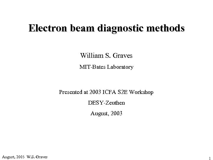 Electron beam diagnostic methods William S. Graves MIT-Bates Laboratory Presented at 2003 ICFA S