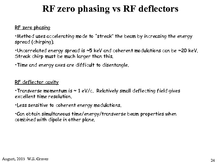 RF zero phasing vs RF deflectors RF zero phasing • Method uses accelerating mode