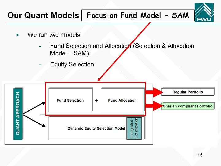Our Quant Models Focus on Fund Model - SAM § We run two models