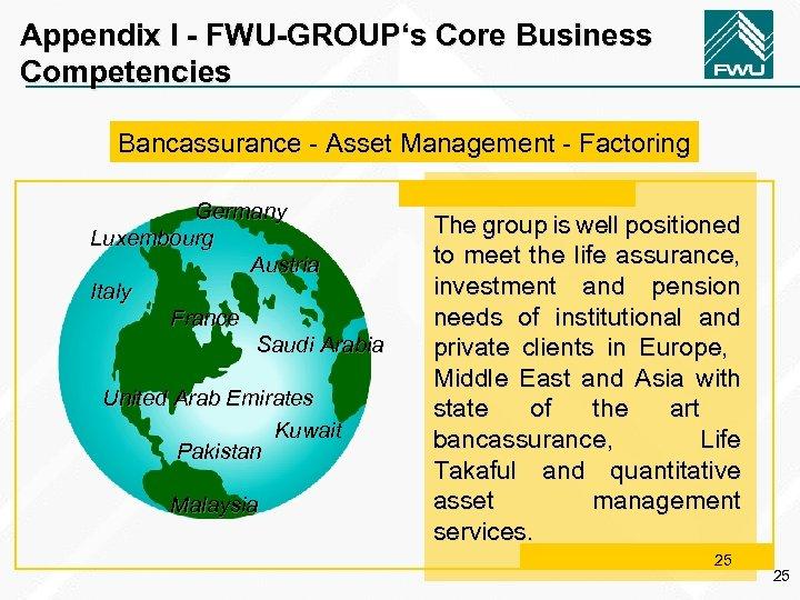 Appendix I - FWU-GROUP's Core Business Competencies Bancassurance - Asset Management - Factoring Germany