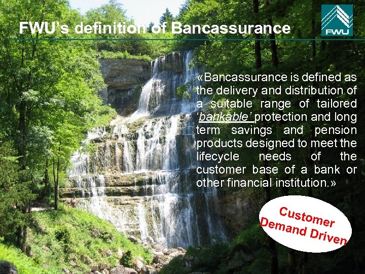 FWU's definition of Bancassurance «Bancassurance is defined as the delivery and distribution of a