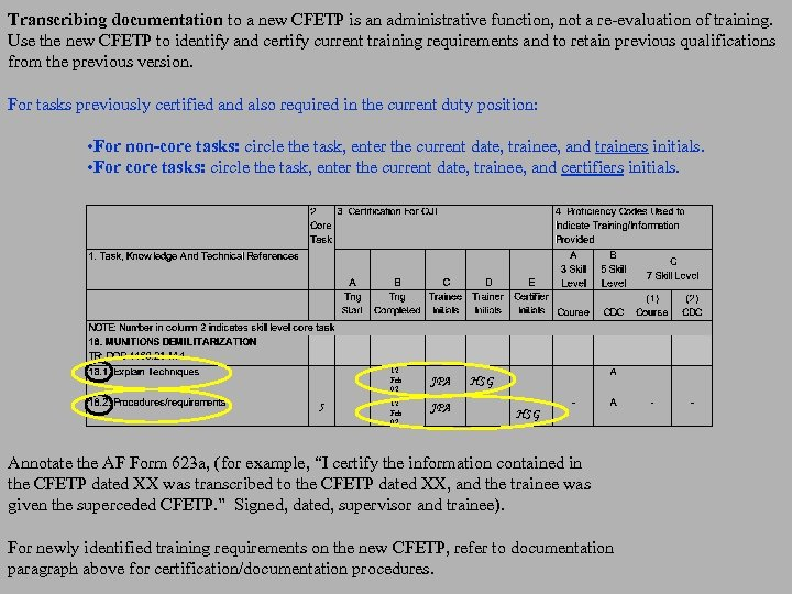 Transcribing documentation to a new CFETP is an administrative function, not a re-evaluation of