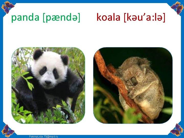 panda [pændə] Fokina. Lida. 75@mail. ru koala [kəu'a: lə]