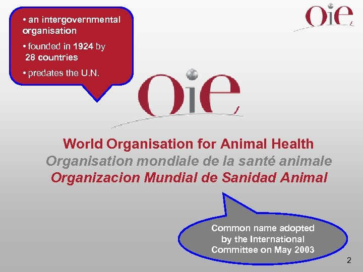 • an intergovernmental organisation • founded in 1924 by 28 countries • predates