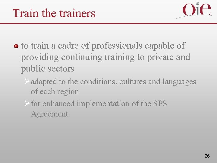 Train the trainers to train a cadre of professionals capable of providing continuing training