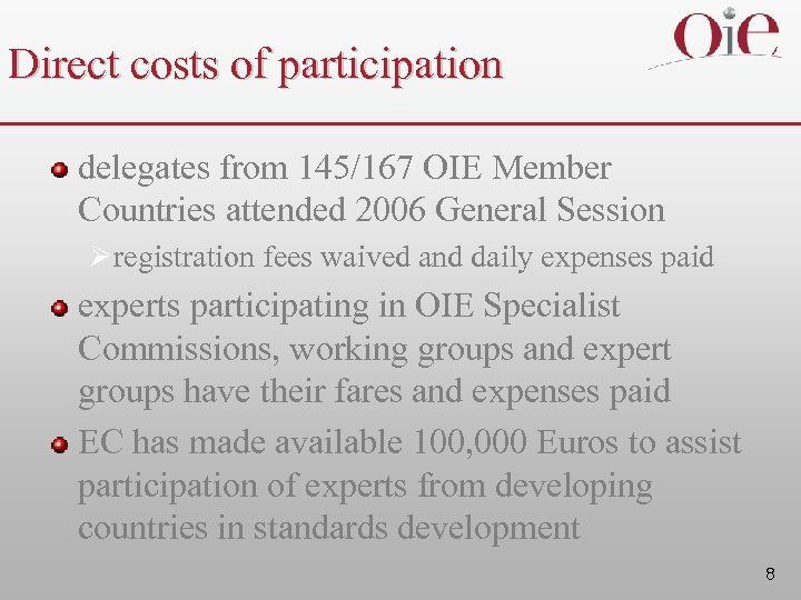 Direct costs of participation delegates from 145/167 OIE Member Countries attended 2006 General Session