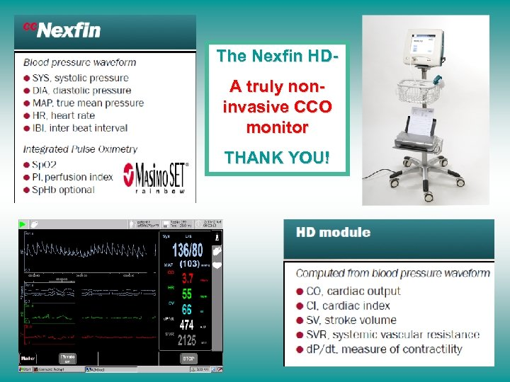 The Nexfin HDA truly noninvasive CCO monitor THANK YOU!