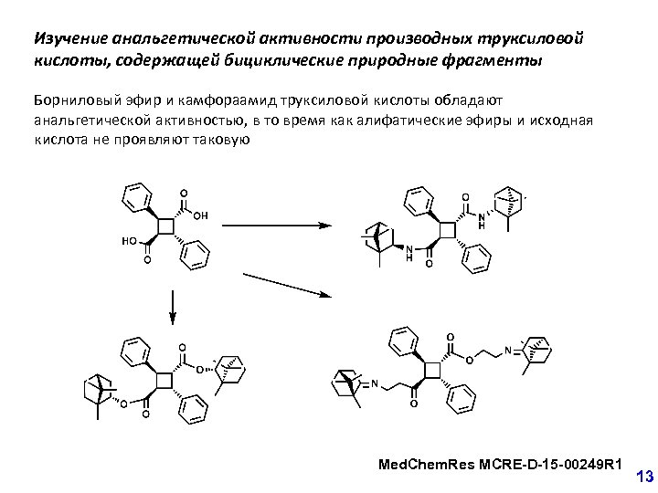 Изучение анальгетической активности производных труксиловой кислоты, содержащей бициклические природные фрагменты Борниловый эфир и камфораамид